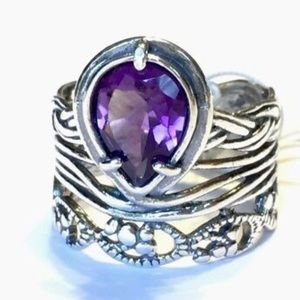 NWT OR PAZ STERLING SILVER 925 AMETHYST RING